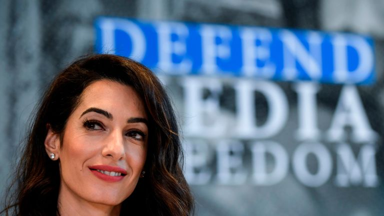 Amal Clooney says she welcomes the UK government's focus on media freedom