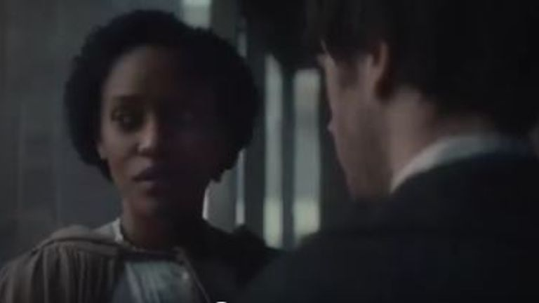 "A white man and black woman discuss escaping to ""the north"" during slavery time in the US. This is from an Ancestry advert"