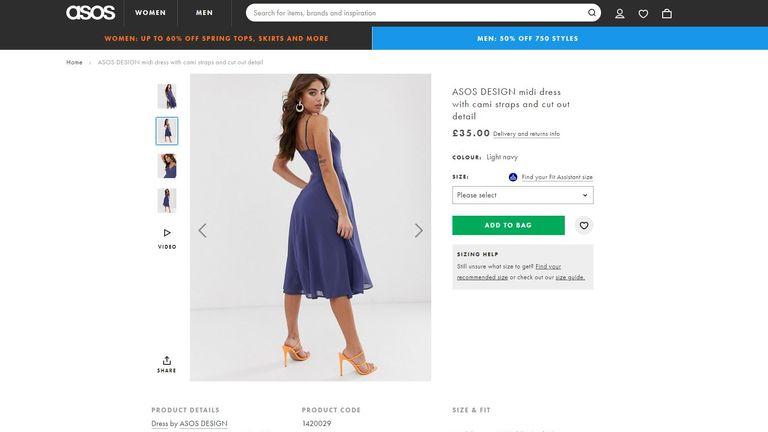 A photo of a dress for ASOS was spotted with clips holding it in. Shortly afterwards, the clips were removed from the photo.