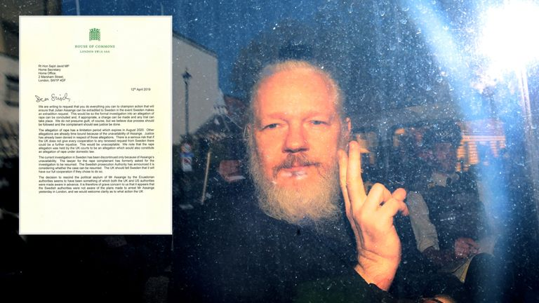 70 MPs have signed a letter calling for Julian Assange to be be extradited to Sweden