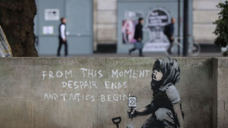 Possible Banksy artwork has appeared near the former location of the Extinction Rebellion camp