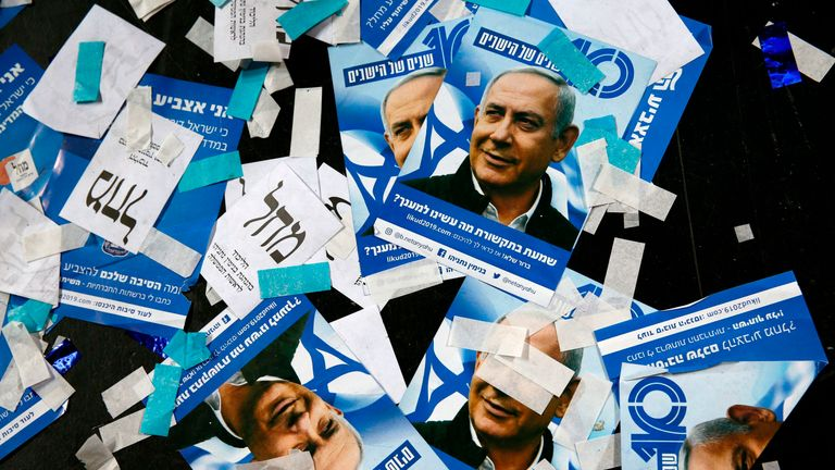 Likud Party campaign material and posters showing Benjamin Netanyahu