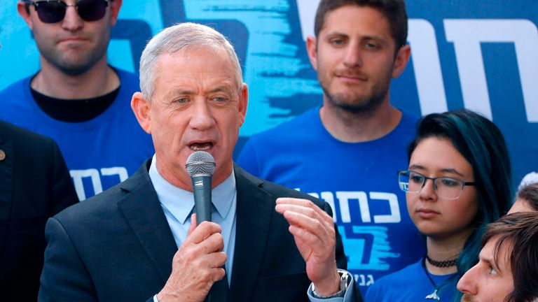 Retired Israeli general Benny Gantz, one of the leaders of the Blue and White (Kahol Lavan) political alliance, speaks during a campaign event in the coastal city of Tel Aviv on April 8, 2019, a day ahead of the electoral polls. (Photo by JACK GUEZ / AFP) (Photo credit should read JACK GUEZ/AFP/Getty Images)