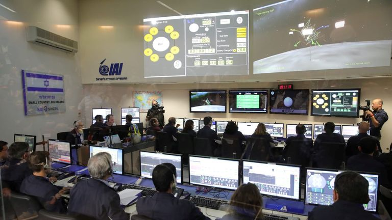 Members of the Israel spacecraft, Beresheet, in the control room in Yahud, Israel