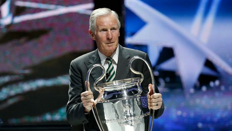 McNeill with the Champions League trophy at the group stage draw for the tournament in 2013