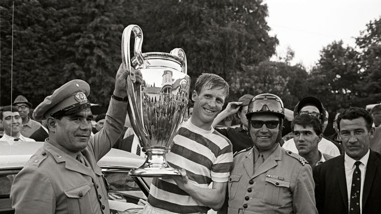 Billy McNeill with the European Cup in 1967.Pic: VI Images
