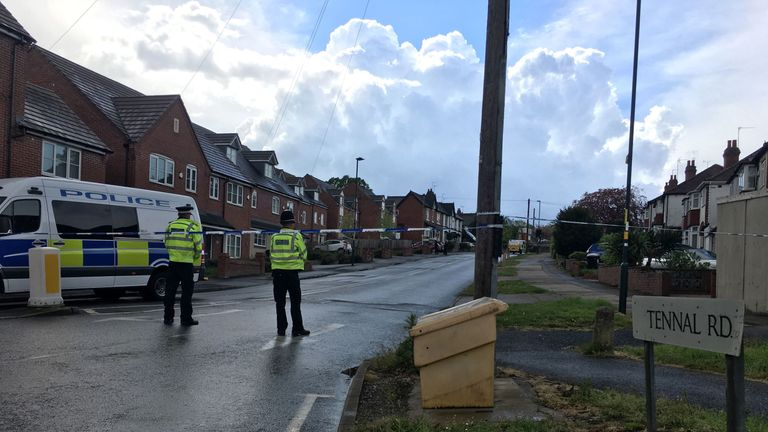 A police cordon remains in place in Tennal Road, in the Harborne area of Birmingham