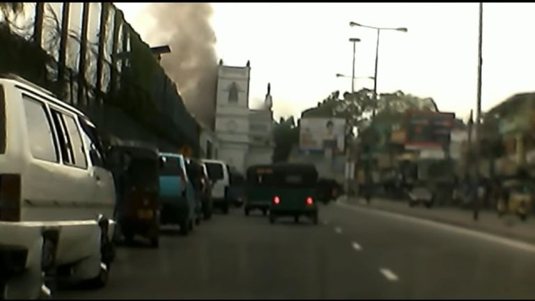 Dashcam captures moment of blast at Sri Lanka church