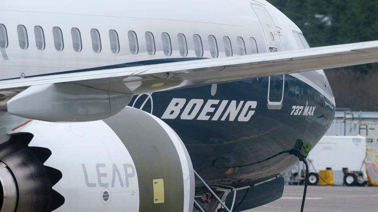 A Boeing 737 MAX 9 test plane seen during tests in March. The 737 MAX fleet has been grounded after two planes crashed within five months