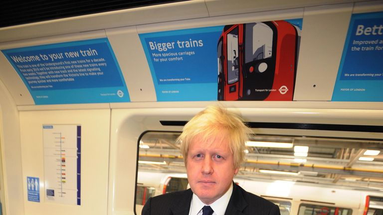 Mayor of London Boris Johnson aboard a T2 train at Northumberland Park tube train depot, where he and TfL boss Peter Hendy made announcements on the new T2 trains and alterations to the congestion zone system.