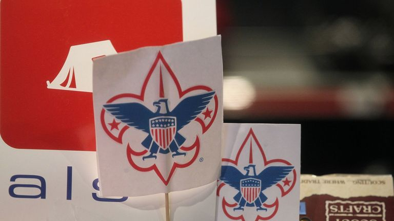 The Boy Scout logo is displayed in a store in San Rafael, California.