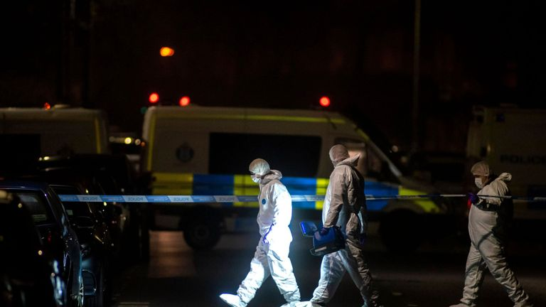 Armed police and forensic detectives at the scene in Chester Street on Wednesday. Pic: Rex