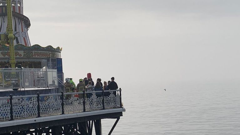 Brighton Palace Pier after a ride came loose. Pic: @NorwTom