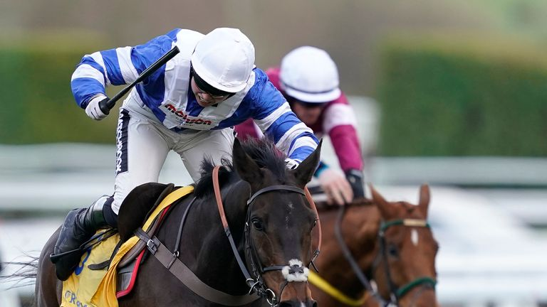 CHELTENHAM, ENGLAND - MARCH 14: Bryony Frost riding Frodon win The Ryanair Chase at Cheltenham Racecourse on March 14, 2019 in Cheltenham, England. (Photo by Alan Crowhurst/Getty Images)