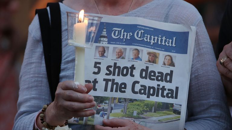 The newspaper was published a day after five people were shot and killed in its own newsroom
