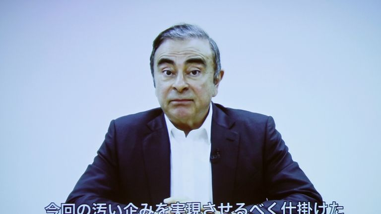 A video statement made by the former Nissan Motor chairman Carlos Ghosn is shown on a screen during a news conference by his lawyers at Foreign Correspondents' Club of Japan in Tokyo, Japan April 9, 2019