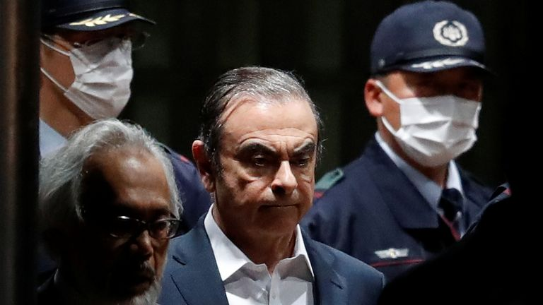 Former Nissan Motor Chariman Carlos Ghosn leaves the Tokyo Detention House 25/4/2019