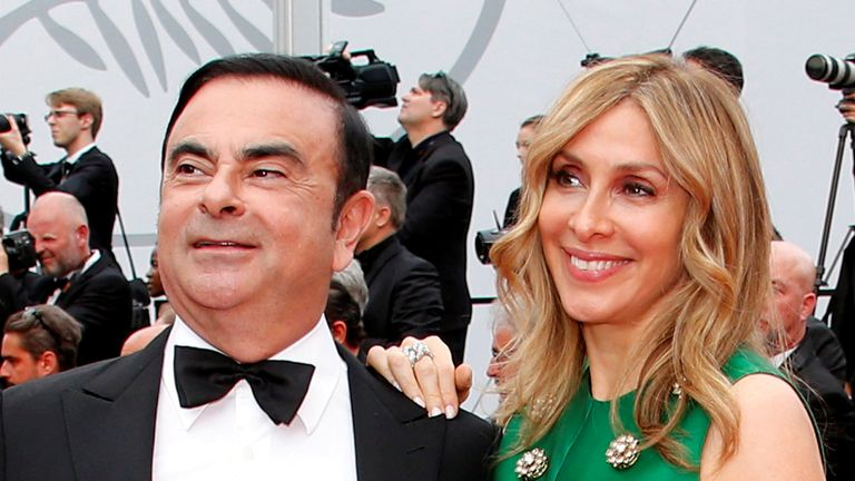 Carlos Ghosn, Chairman and CEO of the Renault-Nissan Alliance, and his wife Carole pose at the Cannes film festival 26/5/2017