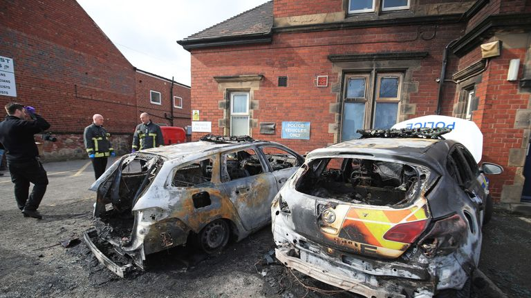 The cars were destroyed in a suspected arson attack
