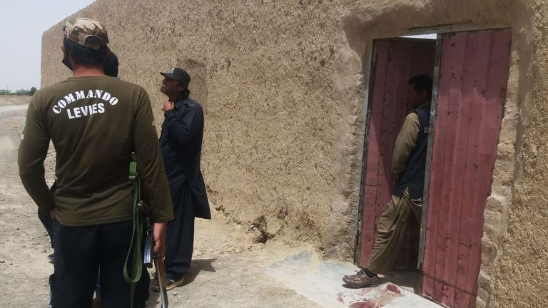 Pakistani security officials at the site of an attack in the town of Chaman