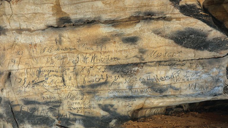 Tribal writing inside Manitou Cave in Alabama. Pic: Alan Cressler/University of Tennesse Knoxville