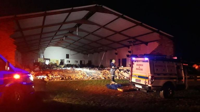 Strong rain and wind is believed to have caused the collapse. Pic: Twitter/ @_ArriveAlive