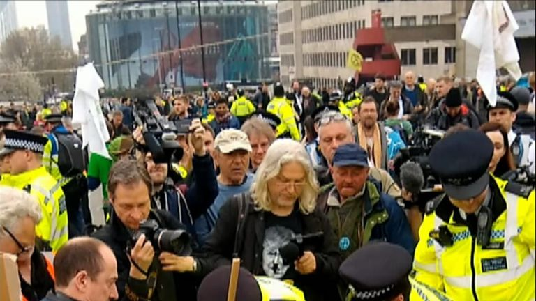 The demonstrations part of a number of protest actions in the UK and worldwide under the Extinction Rebellion banner.