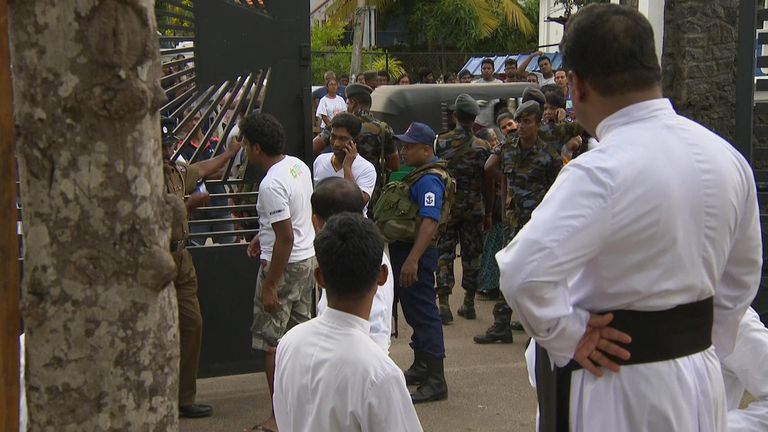 The scene in Negombo near one of the location of the attacks a day on.
