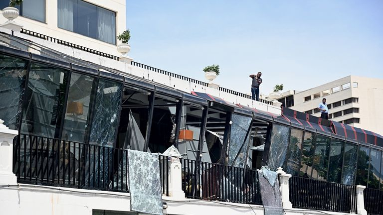 The damage  at the Kingsbury Hotel in Colombo - one of the locations attacked