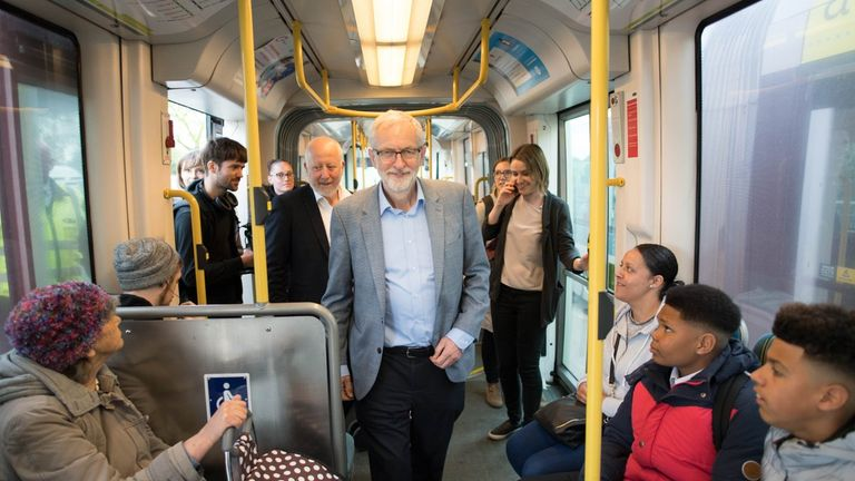 Corbyn announced he would reverse Conservative bus cuts - with a picture of him on a tram. Pic: Jeremy Corbyn