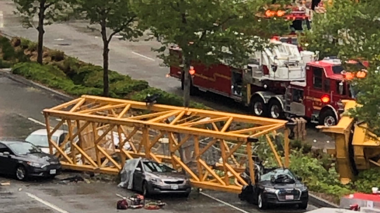 Two of those killed were in cars crushed by the crane. Pic: Alex Yemat