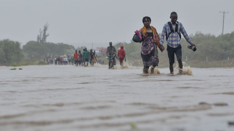 Heavy rains from a powerful cyclone lashed northern Mozambique on April 27, 2019, sparking fears of flooding as aid workers arrived to assess the damage, just weeks after the country suffered one of the worst storms in its history.