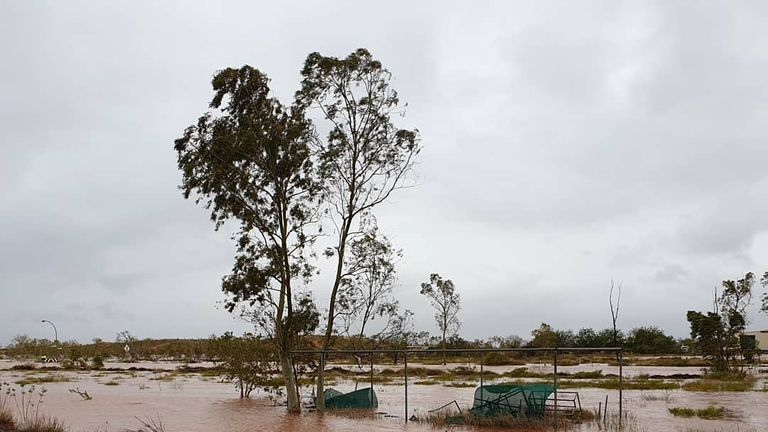 General view of flooded area after Cyclone Veronica swept through Boodarie, Western Australia, March 25, 2019. Pic: Danell Bliss