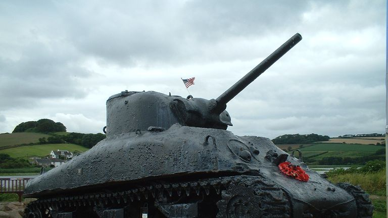 A Sherman tank raised by a Devon resident to act as a memorial to those who died at Slapton Sands. Pic: Wikicommons