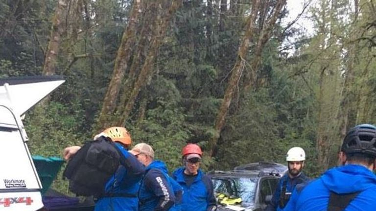 Daisy the dog stayed with her owner after he fell. Police were searching for them. Pierce County Sheriff's Department