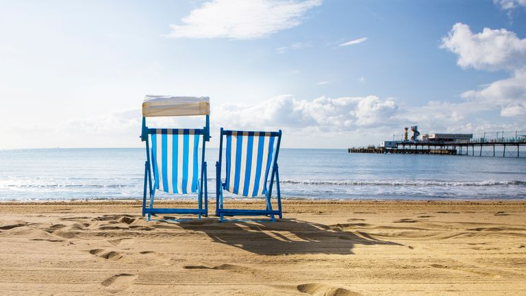 Deck Chairs at Sandown Beach on the Isle of Wight