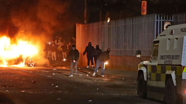 Petrol bombs are thrown at police in Creggan, Londonderry. PRESS ASSOCIATION Photo. Picture date: Thursday April 18, 2019. Photo credit should read: Niall Carson/PA Wire
