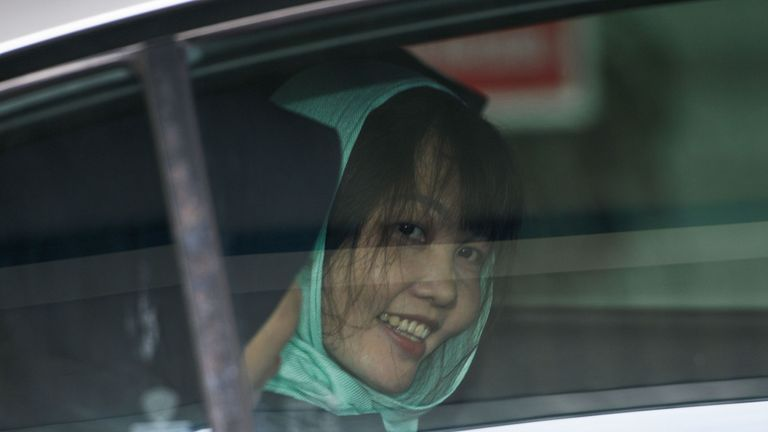 Doan Thi Huong is all smiles after being given a lesser charge