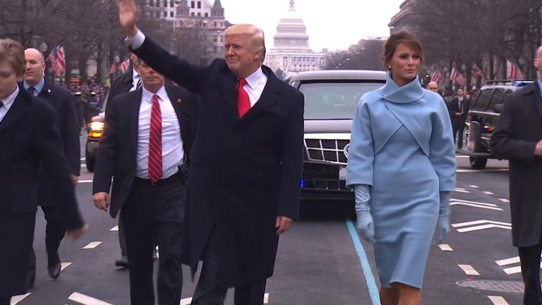 Donald and Melania Trump at the president's inauguration