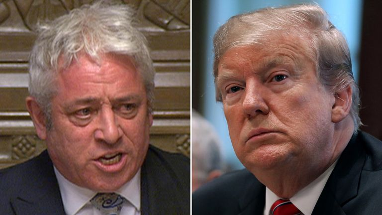 John Bercow has previously ruled out the prospect of Donald Trump addressing parliament