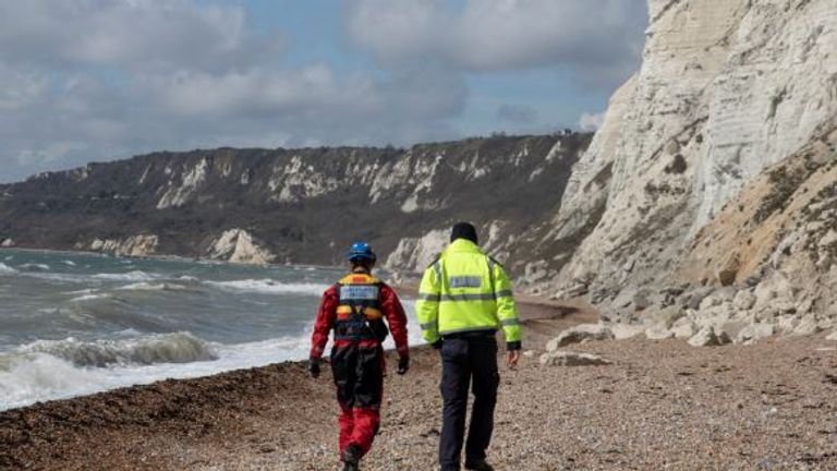 Coastguard and Border Force officials checked the coastline near Samphire Hoe