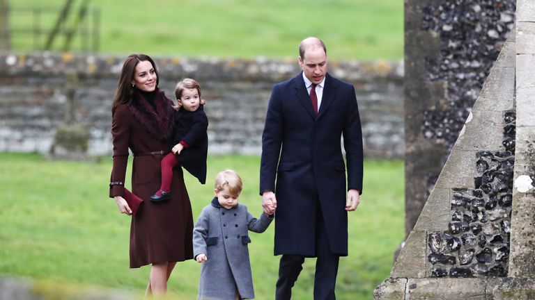 The Duke and Duchess of Cambridge at St Mark's Church in Berkshire on Christmas Day in 2016