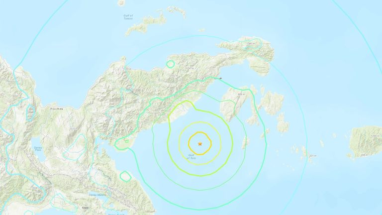 The earthquake struck east of Sulawesi island. Pic: USGS
