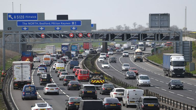 Heavy traffic on the M1 in Bedfordshire on Thursday