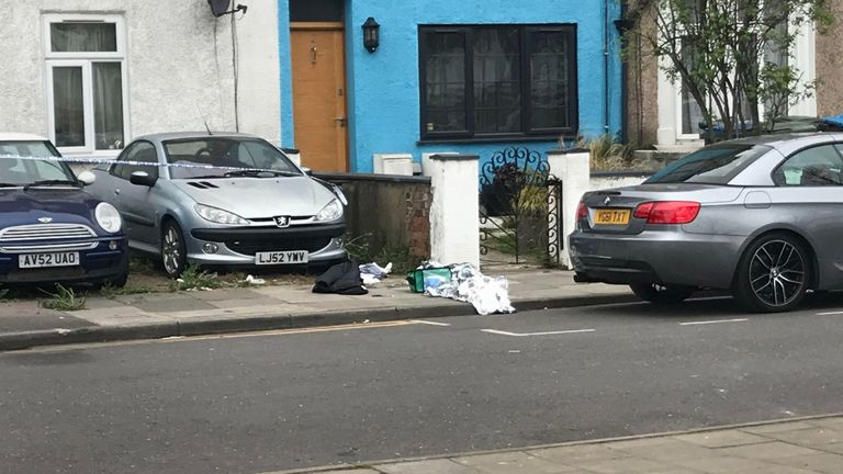 A black jacket, metallic blanket and medical equipment were seen at the scene in Aberdeen Road