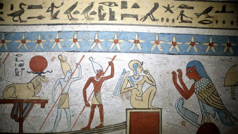 A detail of an image from inside the tomb. Pic: Egypt Ministry of Antiquities