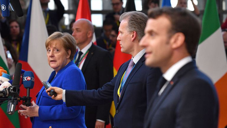 Angela Merkel and Emmanuel Macron are understood to have held different views on how long the EU should be willing to delay Brexit