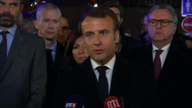 Emmanuel Macron speaks outside the Notre-Dame and announces a fundraiser will be launched to pay for repairs