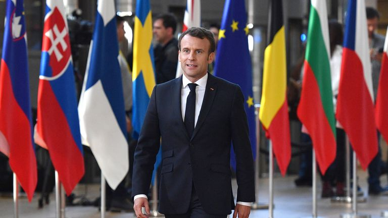 BRUSSELS, BELGIUM - APRIL 10: French President Emmanuel Macron arrives ahead of a European Council meeting on Brexit at The Europa Building, The European Parliament on April 10, 2019 in Brussels, Belgium. Theresa May formally presents her case to the European Union for a short delay to Brexit until 30 June 2019. The other EU leaders will then then discuss how to respond at a dinner without her. (Photo by Leon Neal/Getty Images)