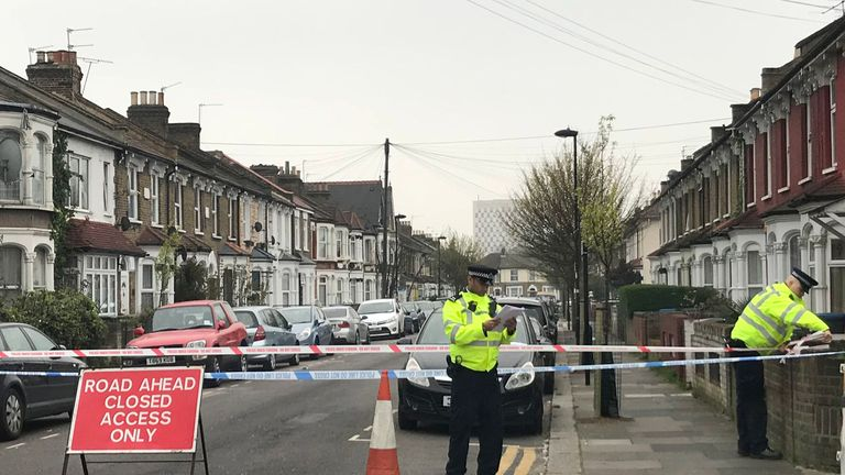 Police activity near the scene of where a man has suffered life-threatening injuries after a stabbing on Aberdeen Road in Enfield, north London